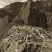 Machu Picchu Sepia Art Print