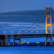 Mackinac Bridge In Evening Art Print