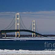 Mackinac Bridge In Winter 2 Art Print