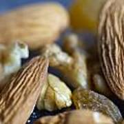 Macro Shots Of Various Dry Fruit Items Such As Almonds And Walnuts And Raisins Art Print