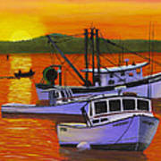 Maine Fishing Boats At Sunset Port Clyde Painting Art Print