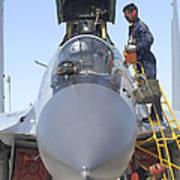 Maintainers Prepare A Sukhoi Su-30 Art Print