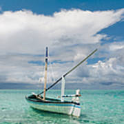 Maldivian Boat Dhoni On The Peaceful Water Of The Blue Lagoon Art Print