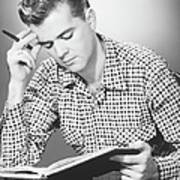Male Student Reading, (b&w), Art Print by George Marks