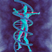 Man And Dna Art Print by Christian Darkin