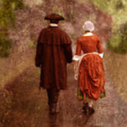 Man And Woman In 18th Century Clothing Walking Art Print