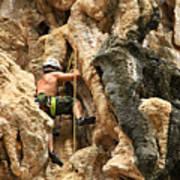 Man Climbing Rock Art Print by Ulrike Maier