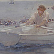 Man In A Rowing Boat Art Print