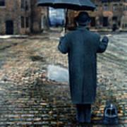 Man In Vintage Clothing With Umbrella On Rainy Brick Street Art Print