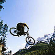 Man Jumping On His Mountain Bike Art Print