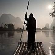 Man On Raft In Mountain Area Yulong Art Print