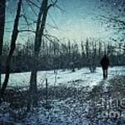 Man Walking In Snow At Winter Twilight Art Print by Sandra Cunningham