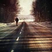 Man Walking On A Rural Winter Road Art Print