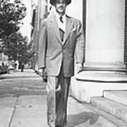 Man Walking On Sidewalk, (b&w) Art Print by George Marks