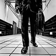 Man With Briefcase Art Print by Giuseppe Cristiano