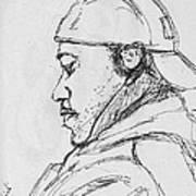 Man With Earphones Art Print