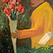 Man With Flowers  Art Print