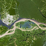 Manaus, Satellite Image Art Print