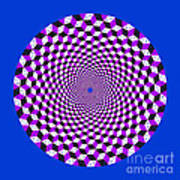 Mandala Figure Number 5 With Rhombus Steps In Black And White And Purple Art Print
