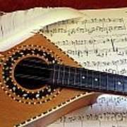 Mandolin And Partiture Art Print
