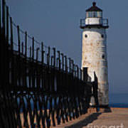 Manistee Harbor Lighthouse And Cat Walk Art Print