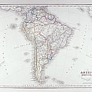 Map Of South America Art Print