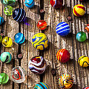Marbles On Wooden Board Art Print