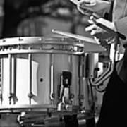 Marching Band Drummer Boy Bw Art Print
