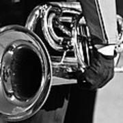 Marching Band Horn Bw Art Print