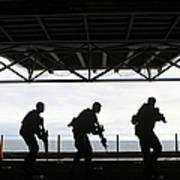 Marines Conduct Rifle Movement Drills Art Print