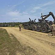 Marines Offload A Logistics Vehicle Art Print