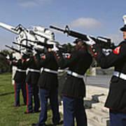 Marines Practices Drill Movements Art Print