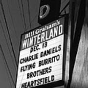 Marquee At Winterland In Late 1975 Art Print