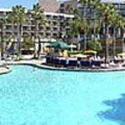 Marriott Hotel Swimming Pool Panorama Orlando Fl Art Print