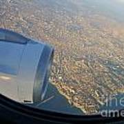 Marseille City From An Airplane Porthole Art Print