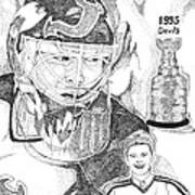 Martin Brodeur Sports Portrait Art Print by Marty Rice