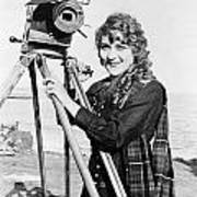 Mary Pickford (1893-1979). Born Gladys Mary Smith. American Actress, With A Movie Camera On A Beach, C1916 Art Print