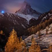 Matterhorn With Star Trail Art Print