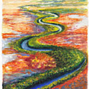 Meandering River In Northern Australian Channel Country Art Print