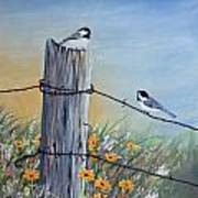 Meeting At The Old Fence Post Art Print