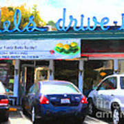 Mel's Drive-in Diner In San Francisco - 5d18014 - Painterly Art Print by Wingsdomain Art and Photography