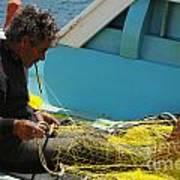 Mending His Nets Art Print