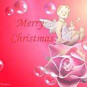 Merry Christmas Cherub And Rose Art Print