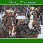 Merry Christmas Horses At Sawmill Art Print