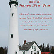 Merry Christmas Lighthouse Art Print