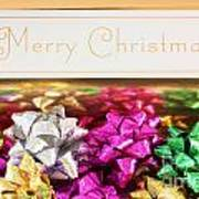 Merry Christmas Message With Colourful Bows Art Print