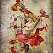 Merry Making Antique Girls In Red And White Grunge Art Print