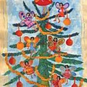 Merry Xmas Tree Fairies Art Print