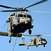 Mh-60s Sea Hawk Helicopters In Flight Art Print