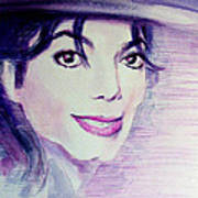 Michael Jackson - Purple Fedora Art Print